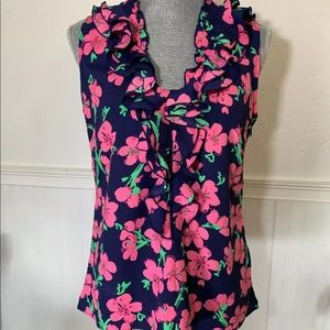 Lilly Pulitzer ruffle blouse size s sleeveless